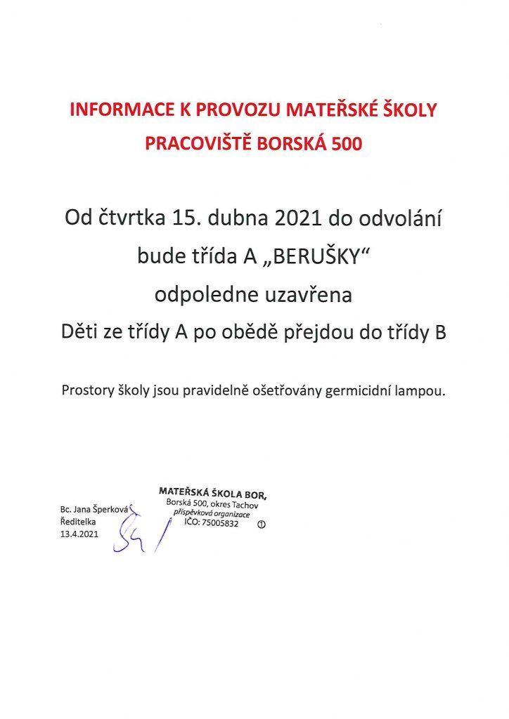 Informace k provozu Borska 500
